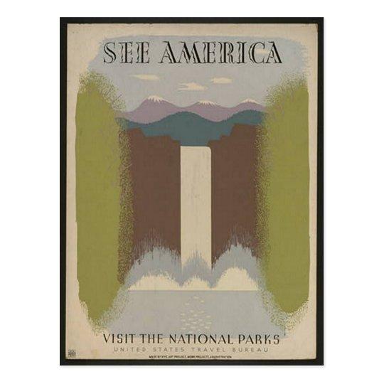 Vintage National Parks Travel Postcard