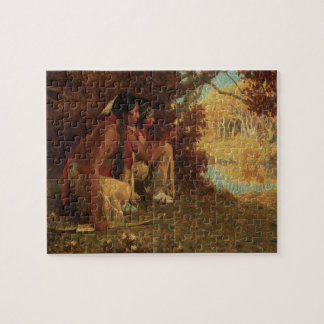 Vintage Native American, Hunting for Deer by Couse Jigsaw Puzzle