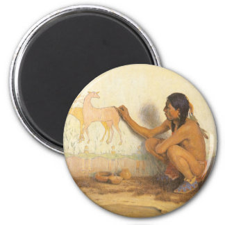Vintage Native American, Indian Artist by Couse 6 Cm Round Magnet