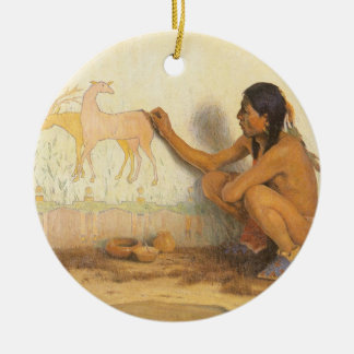 Vintage Native American, Indian Artist by Couse Christmas Ornament