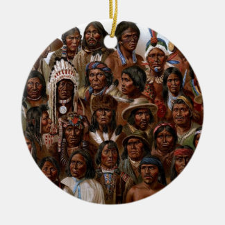 Vintage Native American tribes and peoples picture Round Ceramic Decoration