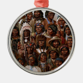Vintage Native American tribes and peoples picture Silver-Colored Round Decoration