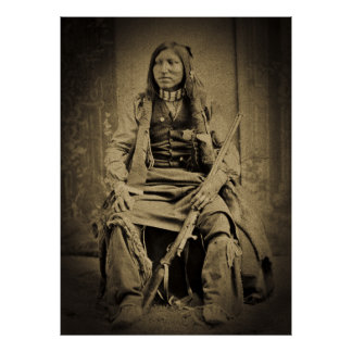 Vintage Native American with Rifle and a Badge Poster