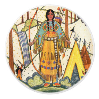 Vintage Native American Woman Village Forest Ceramic Knob