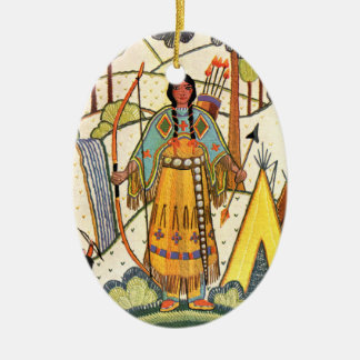 Vintage Native American Woman Village Forest Christmas Ornament