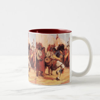 Vintage Native Americans, Buffalo Dance by Cassidy Two-Tone Coffee Mug