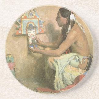 Vintage Native Americans, Hopi Katchina by Couse Sandstone Coaster