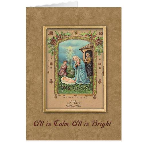 Vintage Nativity Christmas Greeting Greeting Cards