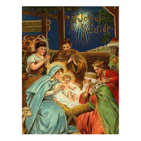 Vintage Religious Nativity Christmas Ornament: Holiday Postcards