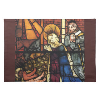 Vintage Nativity Scene in Stained Glass Placemats