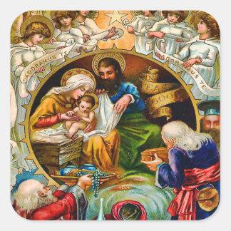 Vintage Nativity Scene Sticker