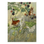 Vintage, Nature Art Bird, Mouse Poster