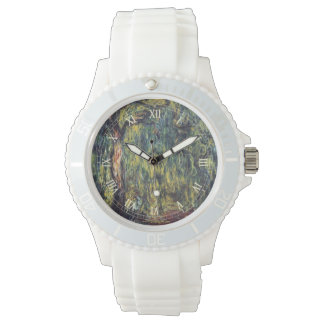 Vintage Nature, Weeping Willow by Claude Monet Wrist Watch