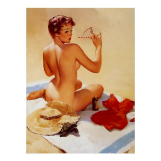 Vintage Naughty Beach Beauty Pin Up Girl Poster