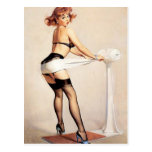 Vintage Naughty Fitness Guru Pin Up Girl Postcard