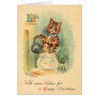Vintage Naughty Kitten Christmas Card