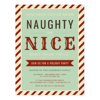 Vintage Naughty Or Nice Holiday Party Invitation Postcard