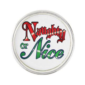 Vintage Naughty or Nice Lapel Pin