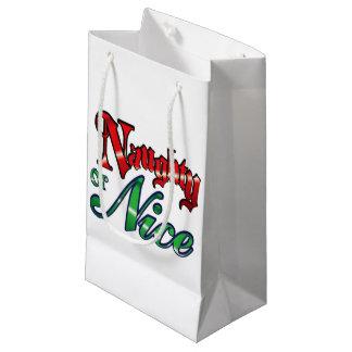 Vintage Naughty or Nice Small Gift Bag