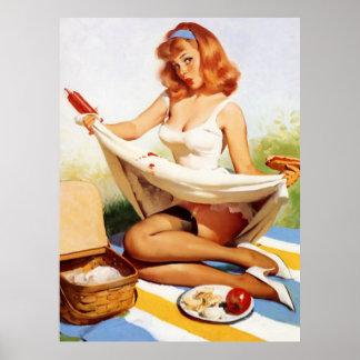 Vintage Naughty Picnic Pin Up Girl Poster