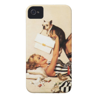 Vintage Naughty Puppy Love Pin Up Girl iPhone 4 Cases