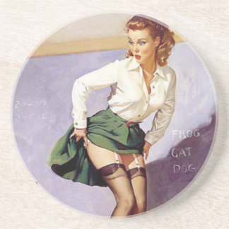 Vintage Naughty Teacher Pin Up Girl Coaster