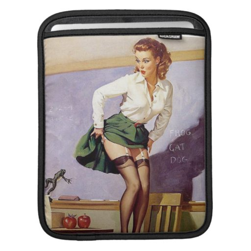 Vintage Naughty Teacher Pin Up Girl Sleeves For iPads