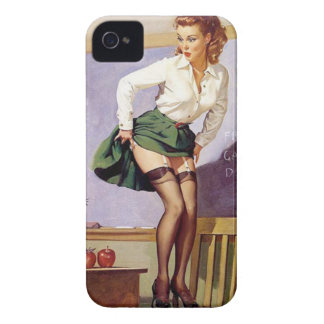 Vintage Naughty Teacher Pin Up Girl iPhone 4 Cover