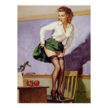 Vintage Naughty Teacher Pin Up Girl Poster
