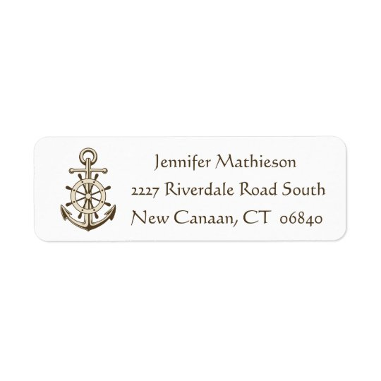 Vintage Nautical Anchor And Ship Wheel - Brown Return Address Label