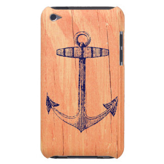 Vintage Nautical Anchor Faux Wood Background iPod Case-Mate Case