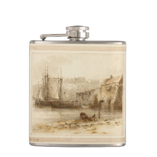 Vintage Nautical Boats Ashore Flask