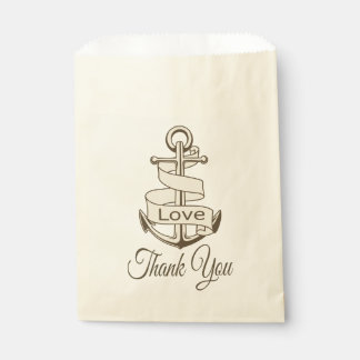 Vintage Nautical Brown Ship Anchor Wedding Party Favour Bags