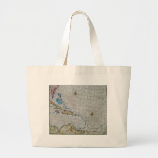 Vintage Nautical Chart Of The Caribbean Large Tote Bag