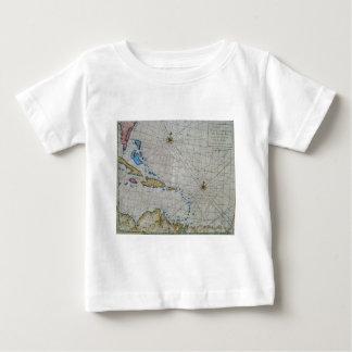Vintage Nautical Chart Of The Caribbean Tee Shirt