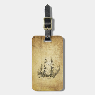 Vintage nautical classy ancient ship luggage tag