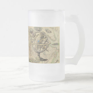 Vintage Nautical Compass and Map Frosted Glass Beer Mug