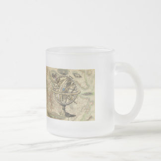 Vintage Nautical Compass and Map Frosted Glass Coffee Mug