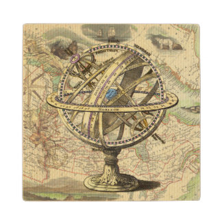 Vintage Nautical Compass and Map Maple Wood Coaster