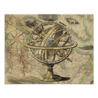 Vintage Nautical Compass and Map Poster