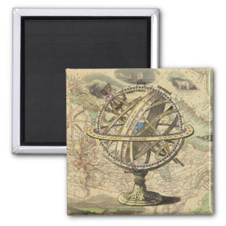 Vintage Nautical Compass and Map Square Magnet