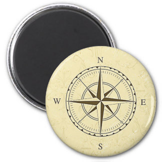 Vintage Nautical Compass Rose Ivory 6 Cm Round Magnet