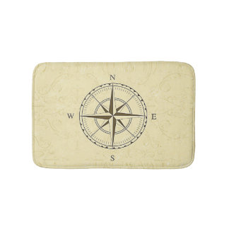 Vintage Nautical Compass Rose Ivory Bath Mat