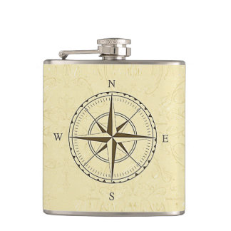 Vintage Nautical Compass Rose Ivory Hip Flask