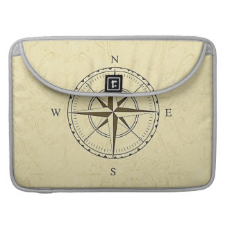 Vintage Nautical Compass Rose Ivory MacBook Pro Sleeves