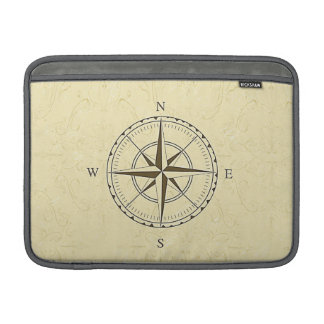 Vintage Nautical Compass Rose Ivory MacBook Sleeve