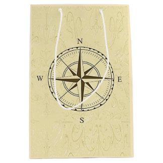 Vintage Nautical Compass Rose Ivory Medium Gift Bag