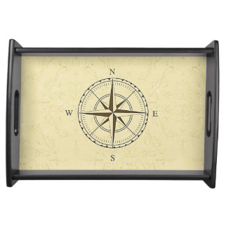 Vintage Nautical Compass Rose Ivory Serving Tray