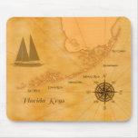 Vintage Nautical Florida Keys Map Mouse Pads