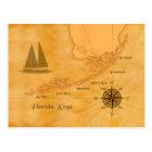 Vintage Nautical Florida Keys Map Postcard